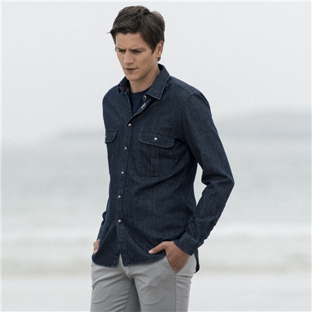 Navy Drumbar Washed Denim Tailored Fit Shirt  - Click to view a larger image