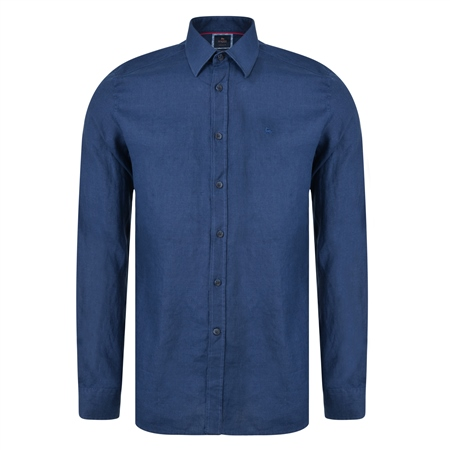 Indigo Delvin Washed Irish Linen Tailored Fit Shirt  - Click to view a larger image