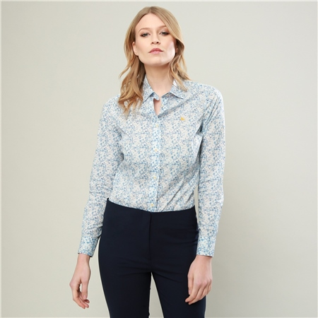 Baby Blue Hannah Mitsi Valeria Liberty Print Shirt  - Click to view a larger image