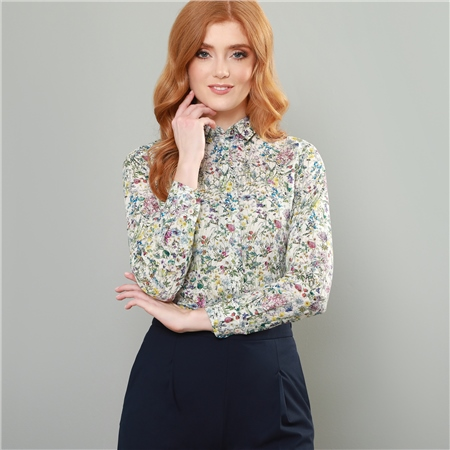 White & Green Hannah Wild Flowers Liberty Print Classic Fit Shirt  - Click to view a larger image