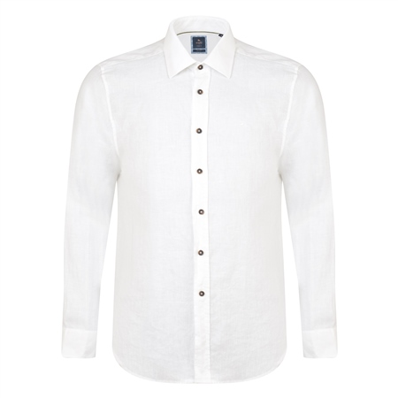 Ivory Kilbeg Washed Irish Linen Classic Fit Shirt  - Click to view a larger image