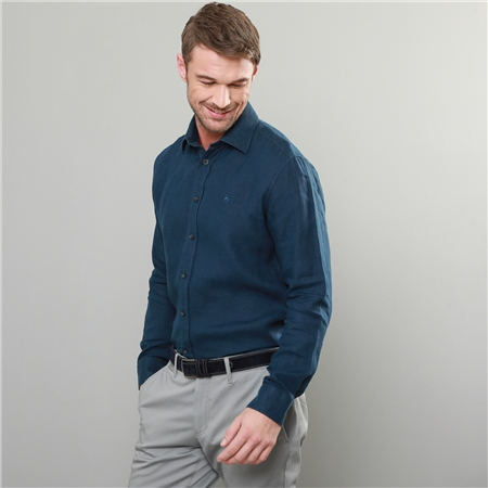 Indigo Kilbeg Washed Irish Linen Classic Fit Shirt  - Click to view a larger image