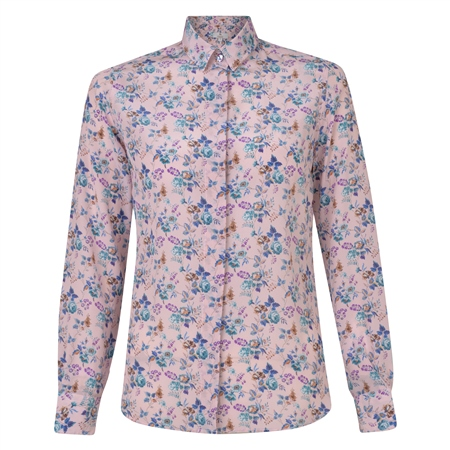 Pink Tracy Yorkshire Rose Liberty Print Silk Tailored Fit Shirt  - Click to view a larger image