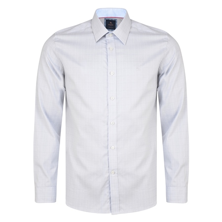 Grey Lisnaree Gridcheck Tailored Fit Shirt  - Click to view a larger image