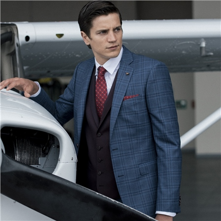 Blue & Burgundy Glen Checked Luxury Wool 3-Piece Tailored Fit Suit  - Click to view a larger image