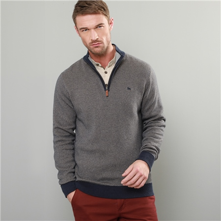 Grey & Navy Cashelenny Birdseye Cotton 1/4 Zip Sweater  - Click to view a larger image
