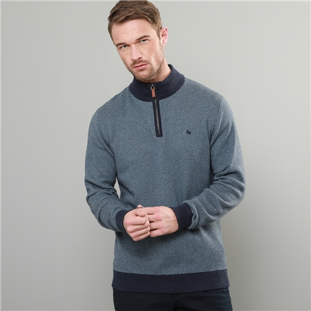 Blue & Navy Cashelenny Birdseye Cotton 1/4 Zip Sweater  - Click to view a larger image