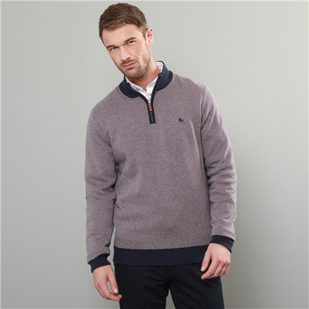 Lilac & Navy Cashlenny Birdseye Cotton 1/4 Zip Sweater  - Click to view a larger image