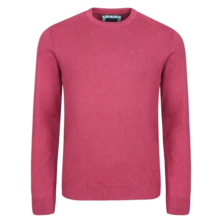 Fuchsia Carn Cotton Crew Neck Jumper  - Click to view a larger image