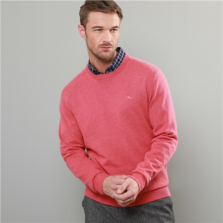 Coral Carn Cotton Crew Neck Classic Fit Jumper  - Click to view a larger image