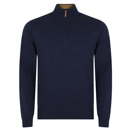 Navy Carn Cotton 1/4 Zip Neck Jumper  - Click to view a larger image