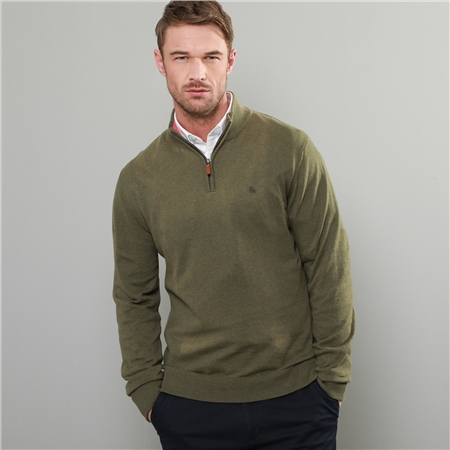 Green Carn Cotton 1/4 Zip Neck Jumper  - Click to view a larger image