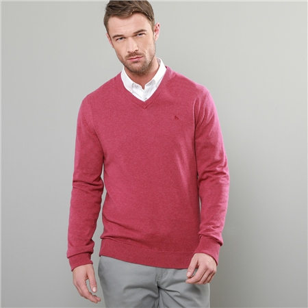 Fuchsia Carn Cotton V-Neck Jumper  - Click to view a larger image