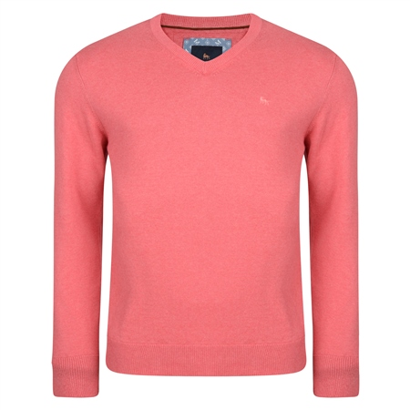 Coral Carn Cotton V Neck Jumper  - Click to view a larger image