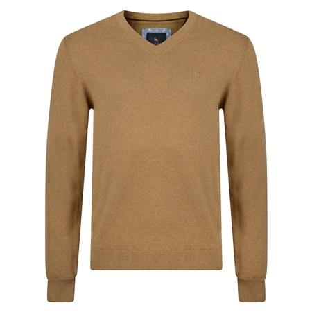 Brown Carn Cotton V Neck Jumper  - Click to view a larger image