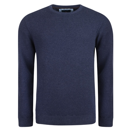 Navy Faugher Ribbed Structure Crew Jumper  - Click to view a larger image