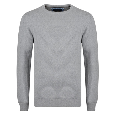 Grey Faugher Ribbed Structure Crew Neck Jumper  - Click to view a larger image