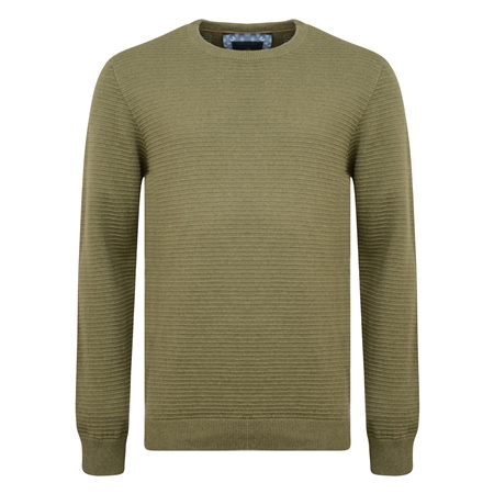 Green Faugher Ribbed Structure Crew Neck Jumper  - Click to view a larger image