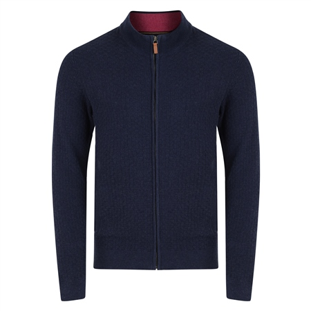 Navy Keadew Cotton Structure Full Zip Sweater  - Click to view a larger image