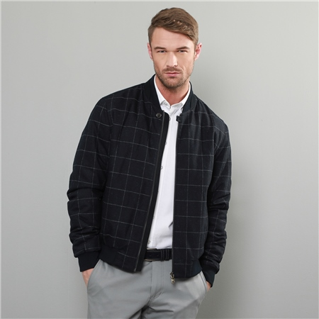 Navy & Grey Fincashel Checked Donegal Tweed Bomber Jacket  - Click to view a larger image