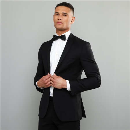 Black Shawl Collar 2 Piece Tailored Fit Suit  - Click to view a larger image