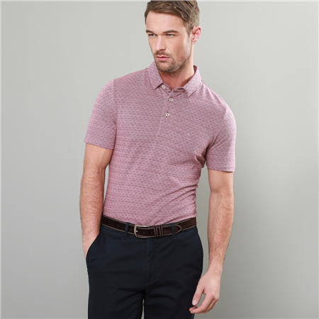 Red Rahan Jacquard Tailored Fit Polo Shirt  - Click to view a larger image