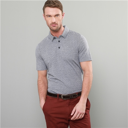 Grey Rahan Jacquard Tailored Fit Polo Shirt  - Click to view a larger image
