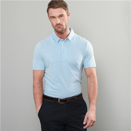 Blue Rahan Jacquard Tailored Fit Polo Shirt  - Click to view a larger image