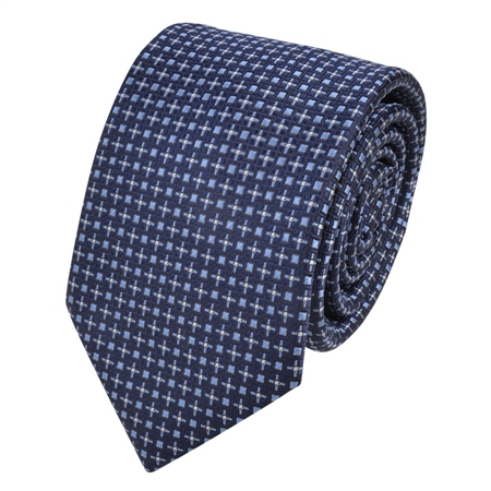 Navy Dotted Print Tie  - Click to view a larger image