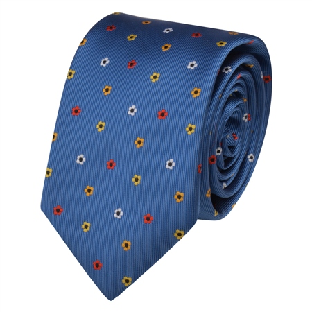 Blue Flower Print Tie  - Click to view a larger image