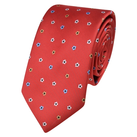RED FLOWER PRINT TIE  - Click to view a larger image