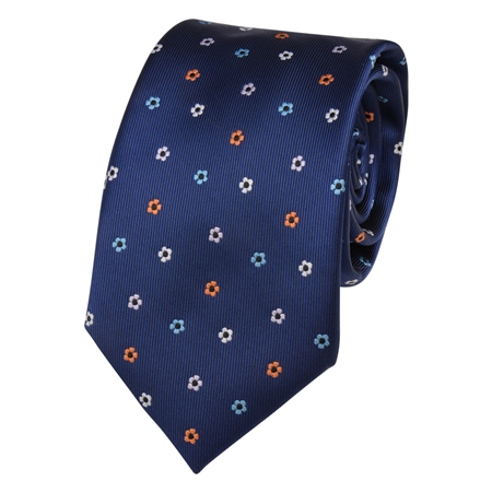 Navy Flower Print Tie  - Click to view a larger image