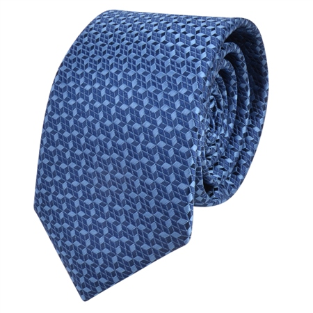 Blue Geometric Design Tie  - Click to view a larger image