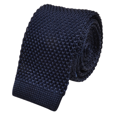 Navy Knitted Silk Tie  - Click to view a larger image
