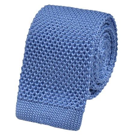 Sky Blue Knitted Silk Tie  - Click to view a larger image