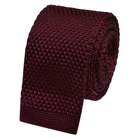 Burgundy Silk Knitted Tie  - Click to view a larger image
