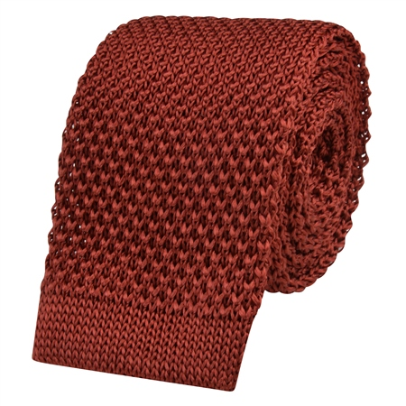 Orange Knitted Silk Tie  - Click to view a larger image
