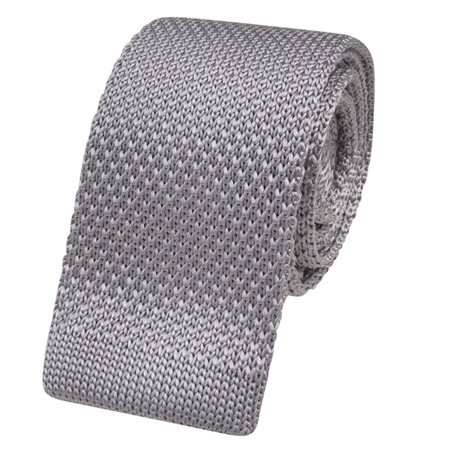 Silver Knitted Silk Tie  - Click to view a larger image