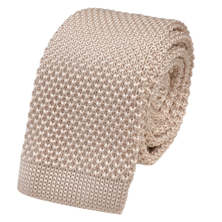 Ivory Knitted Silk Tie  - Click to view a larger image
