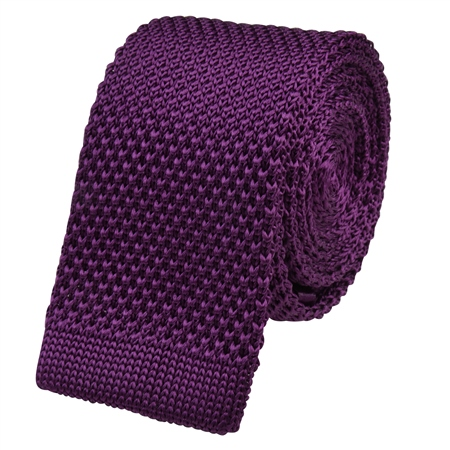 Purple Knitted Silk Tie  - Click to view a larger image
