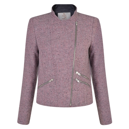 Pink Ards Biker Donegal Tweed Jacket  - Click to view a larger image