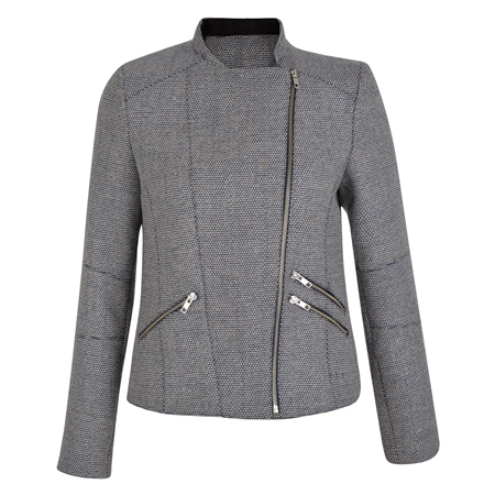 Stone & Navy Ards Biker Donegal Tweed Jacket  - Click to view a larger image