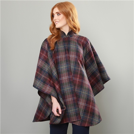 Burgundy Donegal Tweed Check Ailish Cape  - Click to view a larger image
