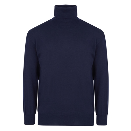 Navy Merino Wool Roll Neck Jumper  - Click to view a larger image