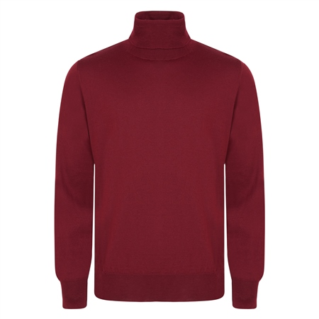 Burgundy Merino Wool Roll Neck Jumper  - Click to view a larger image
