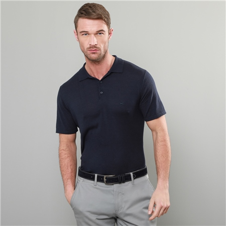 Navy Kiltoy Knitted Classic Fit Polo Shirt  - Click to view a larger image