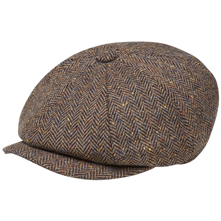 Brown Herringbone Donegal Tweed Baker Cap   - Click to view a larger image