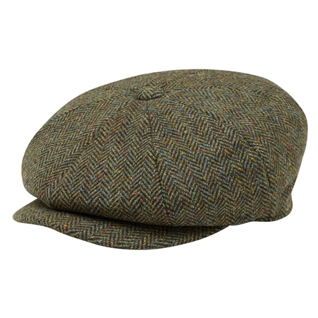 Green Herringbone Donegal Tweed Baker Cap  - Click to view a larger image