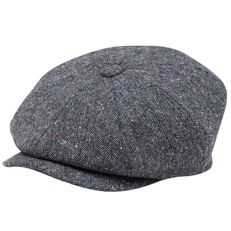 Grey Salt & Pepper Donegal Tweed Baker Cap  - Click to view a larger image