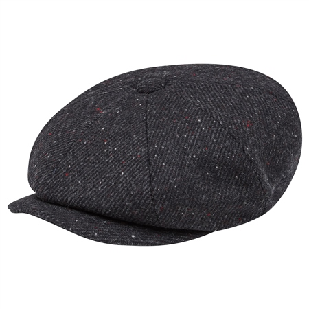 Black Salt & Pepper Donegal Tweed Baker Cap  - Click to view a larger image